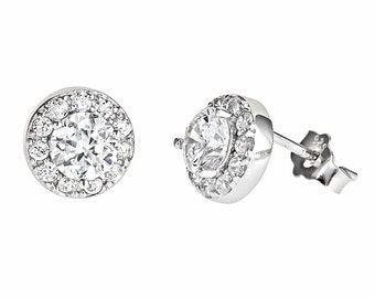 18k white gold layered on Micro Pave CZ .925 Sterling Silver Earrings