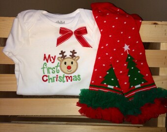 Baby girl first Christmas outfit - onesie and legwarmers - first Christmas onesie - baby Christmas leg warmers