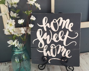 "Home Sweet Home | Wood Slat Sign | 11""x11"" 