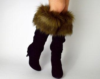 Brown Fur Boot Cuffs FREE SHIPPING - Fur Cuffs, Faux Fur Boot Socks, Boot Toppers, Fur Boot Covers, Fur Leg Warmers