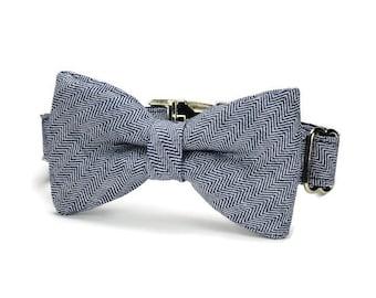 Navy Herringbone Bow Tie Dog Collar, Herringbone Dog Bow Tie Collar, Navy Bow Tie Collar, Preppy Dog Collar, Herringbone Dog Collar