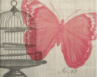 Pink Butterfly, Cage, Paper Napkins for Decoupage, set of 3 paper napkins, 33x33 cm (no.74)