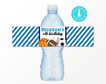 Sport Party Drink Labels - Printable Sports Water Bottle Labels by Printable Studio