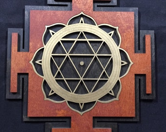 """Durga Yantra 11"""" - Red and Gold with Black Base - Radiant Hearts Item #020011"""