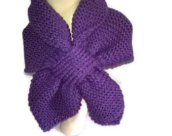 Sparkling Purple Keyhole scarf, Neck Warmer, Ascot scarf Short Scarf, Cowl, Wool Scarf, scarflette, knitted scarf, dog scarf set