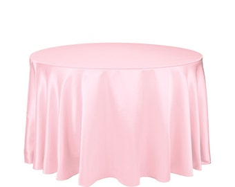 120 inch Round Satin Pink Tablecloth | Wedding Tablecloth