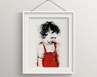 Girl in Red, Red dress, Black And White and Red, little Girl Art, Children Poster, Figure Art, Contemporary Art, Modern Home Decor, Sad Girl