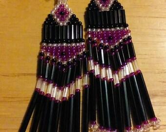 Dragon purple beaded earrings
