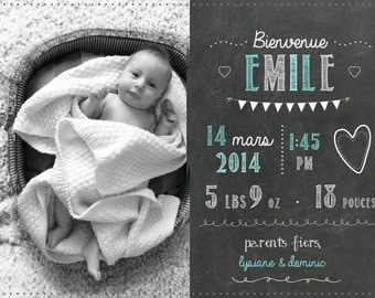 Naissance_FICHIER numerique_carte of thank you card personalized birth announcement slate Board, chalkboard