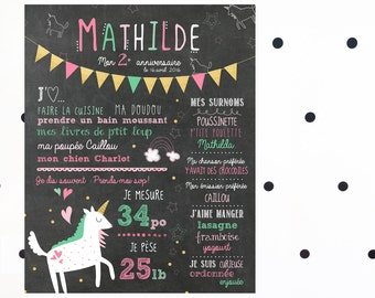 """Displays first personalized birthday """"Unicorns"""" _FICHIER numerique_fete baby 1 year, gold and pink, slate table, Blackboard"""