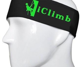 iClimb Black headband Lime Green Font
