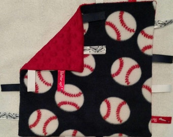 Baseball Infant Security Blanket with Ribbons