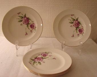 Knowles China > Small Dessert Plates > Purple Pansies
