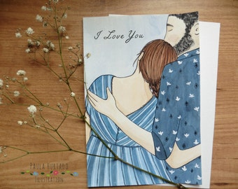 I love you Gretting Card illustrated embracing couple