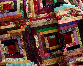Handmade Log Cabin Quilt.....Memory Quilt....Retirement Quilt  Made from mens Ties or your clothes