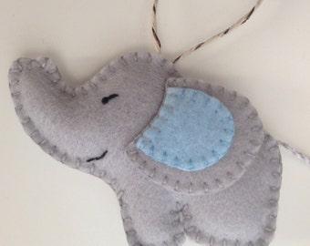Wool Felt Elephant ornament/ Nursery decor/ Blue Eared Elephant/ Light Gray Elephant/ Christmas Tree ornament