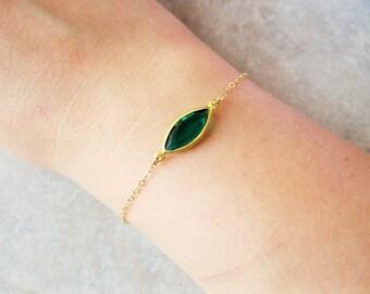 Emerald gold bracelet, gold dainty bracelet, emerald jewelry, emerald bracelet, swarovski bracelet, minimalist bracelet, gold jewelry