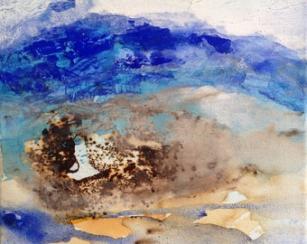 Landscape in blue, ink and pigments on canvas, abstract landscape.