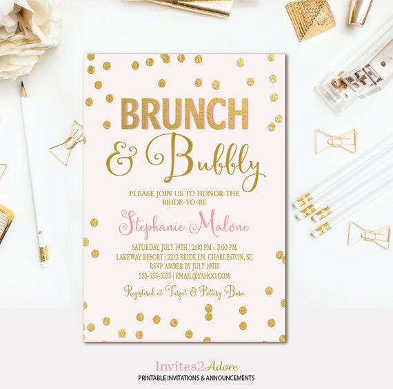 Brunch and Bubbly Invitation Pink Gold Confetti Bridal Shower