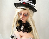 OOAK Art Doll Steampunk Stella has promotion price with her special wood box and doll stand!