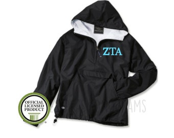 Zeta Tau Alpha Pullover, Monogram Wind Breaker Pullover, Rain Jacket Pullover, Charles River Pullover, Sorority Gift, Zeta Tau Alpha, Zeta