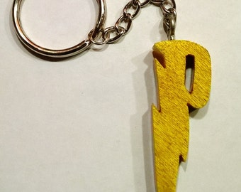 Harry Potter Lightning Bolt Yellowheart Wood Key Chain Keychain