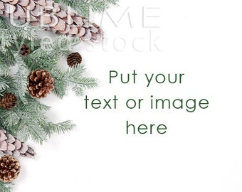 Christmas Styled Stock / Pine cones, Pine tree / Christmas Background / Christmas Mockup / Winter Styled / Christmas Photo / StockStyle-738
