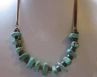 Pyrite wheels and Magnesite nuggets necklace