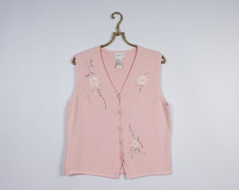 Pale Pink Flower Embroidered Vest Knitted Sleeveless Boho Hippie Top Summer Sweater Size Medium