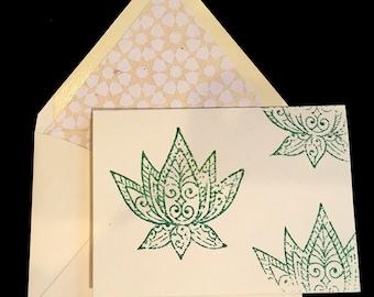 Green Lotus Greeting Card