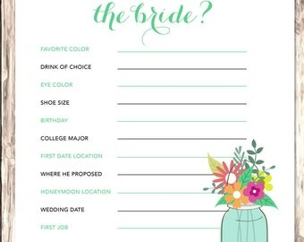 Rustic Bridal Shower | Bridal Shower Games | Bridal Shower Games Printable | How Well Do You Know the Bride | INSTANT DOWNLOAD
