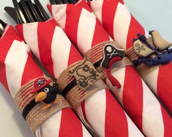 Pirate Party Flatware with Pirate Napkin Rings; Pirate Party Party Supplies, Pirate Dessert Table