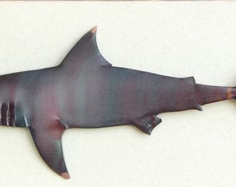 Flame painted copper Shark, pin