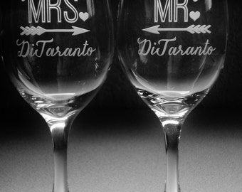 Future MRS and Lucky MR Engagement Gifts for Couple | Personalized Engagement Glasses | Bridal Shower Gift | Engagement Party Glasses