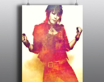 Joan Jett and the Blackhearts  - The Runaways, I Love Rock 'n' Roll,Crimson and Clover,Mixed Media Art Print, Watercolor Print, Poster No169