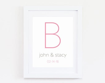 Personalized Wedding Gift Last Name Establish - Wedding Gift for Couple - Monogram Wedding Gift Last Name Wedding Sign - Last Name Wall Art