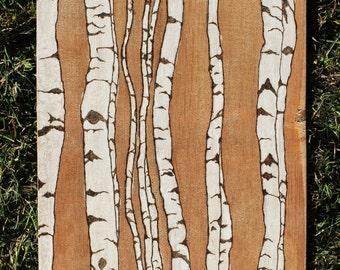 Birch Trees Woodburning