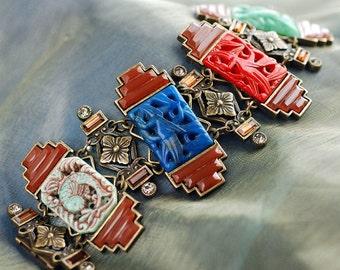 1930s Vintage Glass Bracelet, Art Deco Bracelet, Czech Glass, Art Deco Jewelry, Vintage Bracelet, Vintage Jewelry, 1930s Jewelry BR6445