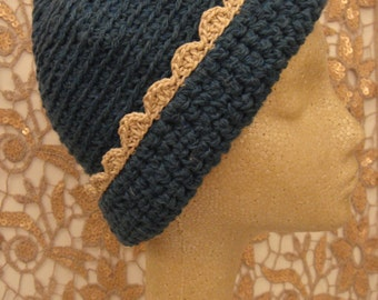 Hand made  knitting stitch warm woolen hat, hobo, crochet trim, fashion size medium.