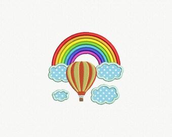 Rainbow and Hot Air Ballon Applique Machine Embroidery Design - 1 Size