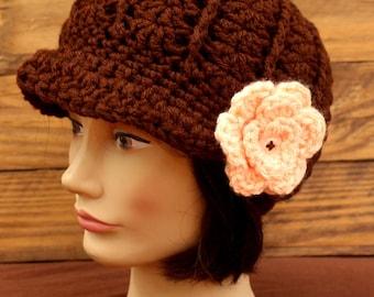 Crochet Chocolate Brown Ladies Newsboy Hat With Peach Flower