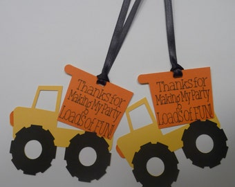 Construction Favor Tags, Dump Truck Favor tag, Construction Theme Thank You Tags, Construction Party, Dump Truck Party, Custom Favor Tags
