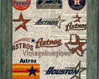 Houston Astros Logo history dictionary art print on upcycled vintage dictionary page 8x10, Astros art. Houston Astros logo, Astros decor
