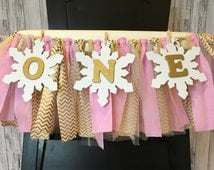 Pink and Gold Winter ONEderland Highchair Banner// Winter ONEderland Banner// Pink and Gold ONEderland Banner // Winter ONEderland