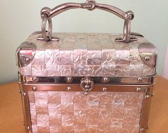 50's Vintage Delill Box Purse Train Case Silver Woven Metallic Pewter Handle