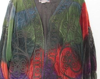 Giacca velluto liscio con ricami applicati. Anni 90/Plain velvet jacket with embroidery/ Free size/Boho blazer/Hippie