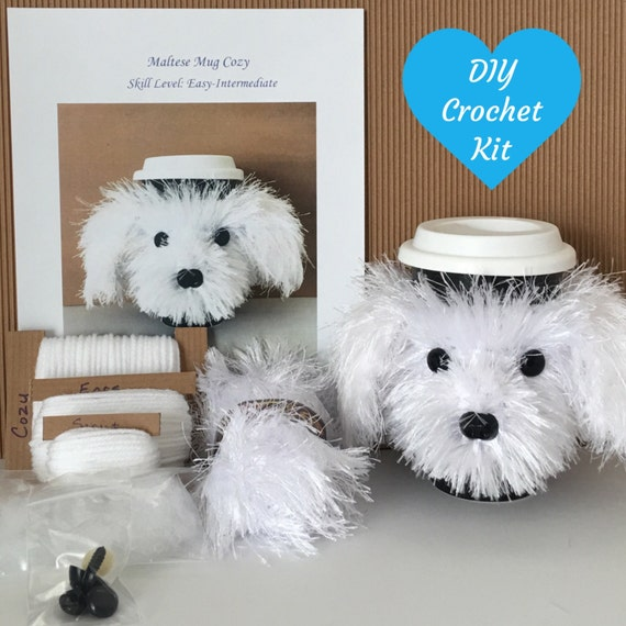 Maltese Dog Knitting Pattern : DIY Crochet Kit Dog Crochet Pattern Crochet by HookedbyAngel