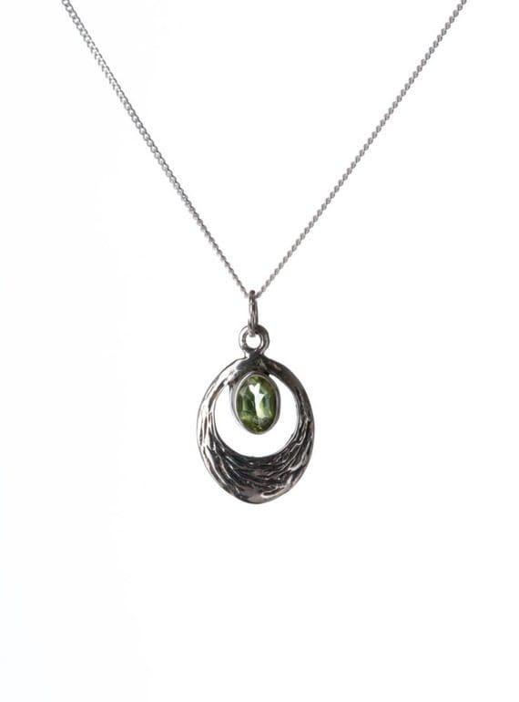 Peridot Gemstone Pendant Dainty Necklace  Handmade, Simple Jewellery Gift box, Free UK Delivery