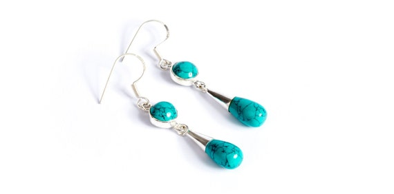 Turquoise Gemstone Sterling Silver Earrings Cone Shape Jewellery Free UK Delivery Gift Boxed