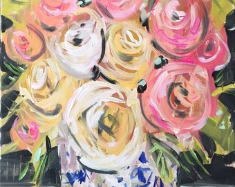 Abstrct Floral Print contemporary tropical Roses impressionist art flowers paper or canvas
